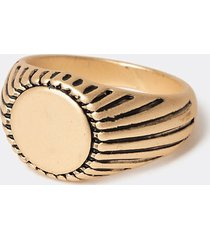 river island mens gold colour detailed signet ring