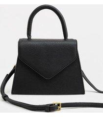 mecca v flap satchel - black