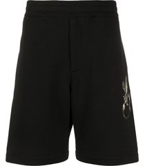 alexander mcqueen embroidered track shorts - black