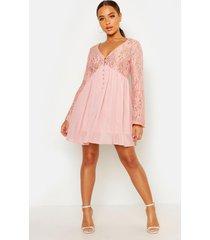 geweven kanten gesmokte jurk, blush