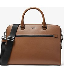 mk borsa portadocumenti harrison media in pelle - cuoio (marrone) - michael kors