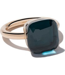 pomellato 18kt rose & white gold maxi nudo blue topaz ring