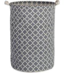 design imports polyethylene coated cotton polyester laundry hamper lattice round