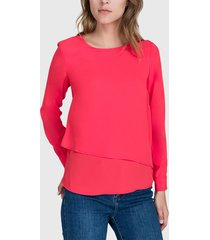 blusa ash lisa doble capa rojo - calce regular