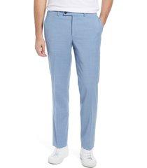 jack victor men's voyageur solid stretch wool blend flat front dress pants, size 46 in light blue at nordstrom