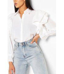 frill detail shirt top, cream