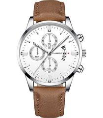 reloj deportivo acero inoxidable hombre cuarzo cuena 1054-l marron blanco