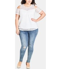 city chic trendy plus size asha ripped skinny jeans