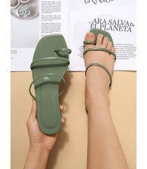 anillo de dedo del pie con correa fina plana sandalias