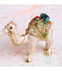 vintage handmade printing gold camel trinket ring box jewelry box wedding gift