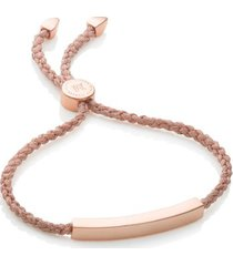 linear friendship bracelet, rose gold vermeil on silver