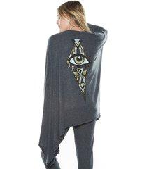 jojo foil deco eye draped cardigan - one black