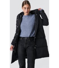 rut&circle padded hood jacket - black
