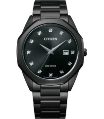 citizen eco-drive men's corso diamond-accent black stainless steel bracelet watch 41mm