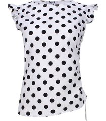 blusa estampada pepas color blanco, talla 14