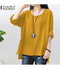 zanzea mujer retro o cuello de manga larga de split holgada de algodón de lino partido sólido suelto tapas ocasionales kaftan blusa de la camisa del tamaño extra grande (amarillo) -amarillo