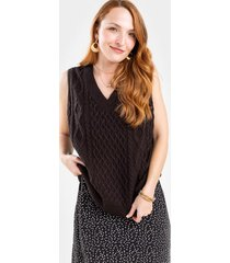 kelsey cable knit sweater vest - black