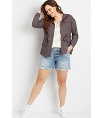 maurices plus size womens gray cinch waist jacket