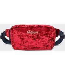 tommy hilfiger girl's kids velvet fanny pack high risk red -