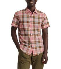 men's bonobos rivie slim fit plaid short sleeve stretch button-up shirt, size x-large - pink