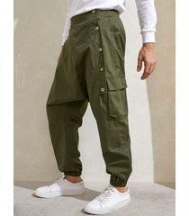 harem holgado de ocio con bolsillo con botón oblicuo para hombre pantalones