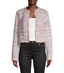 bb dakota women's neon belief fringed tweed jacket - size l