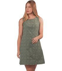 vestido adrissa verde militar corto en ojalillo