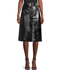 lafayette 148 new york women's avalon leather skirt - black - size 10