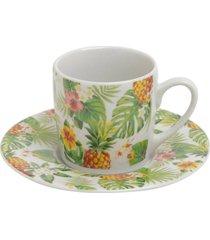 conjunto 6 xícaras porcelana para café com pires pineapple party 90ml