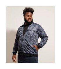 jaqueta plus size esportiva ace camuflada com bolsos e vivo contrastante gola alta multicor