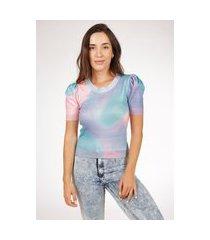 blusa pink tricot com manga bufante e estampa tie dye  de tricot modal  multicolorido feminina