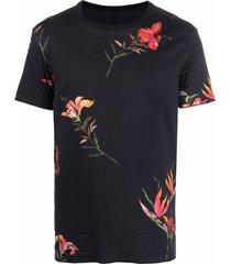 osklen hibiscus floral-print t-shirt - black