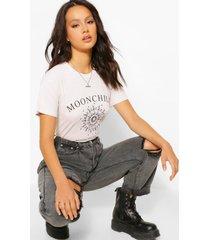 gebleekt moonchild t-shirt met tekst, stone