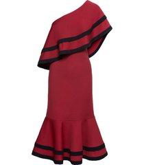 abito monospalla con volant (rosso) - bodyflirt boutique