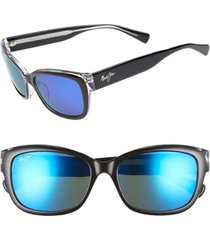 women's maui jim plumeria 55mm polarizedplus2 cat eye sunglasses - black w crystal/ blue hawaii
