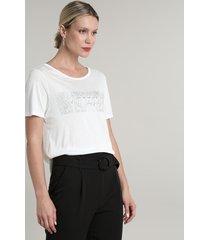 blusa feminina ampla com estampa animal print cobra manga curta decote redondo off white