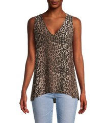 johnny was women's leopard-print silk tank top - leopard print - size xs