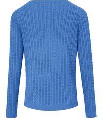 trui van 100% katoen met v-hals en lange mouwen van looxent blauw