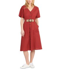 barbour saltwater button-front belted midi dress