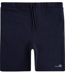 a.p.c logo fleece shorts | dark navy | h10148-iak