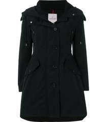 moncler flared hooded coat - black