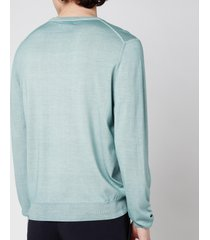 canali men's cotton crewneck long sleeve top - mint - it 50/l