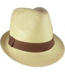 chapéu chapelaria vintage estilo panamá natural aba curta faixa marrom