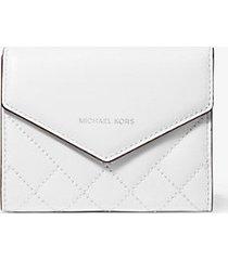 mk portafoglio a bustina piccolo in pelle trapuntata - bianco ottico (bianco) - michael kors