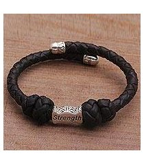 sterling silver accent leather cuff bracelet, 'bali strength' (indonesia)