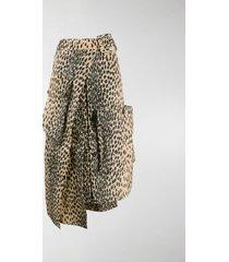 jacquemus leopard print asymmetric midi skirt