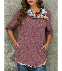 camicetta casual a maniche lunghe con risvolto patchwork stampa floreale per donna