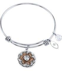 """unwritten """"follow your heart"""" flower bracelet in stainless steel & rose gold-tone"""