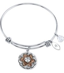 "unwritten ""follow your heart"" flower bracelet in stainless steel and rose gold-tone silver plated charms"