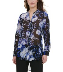calvin klein printed high-low blouse